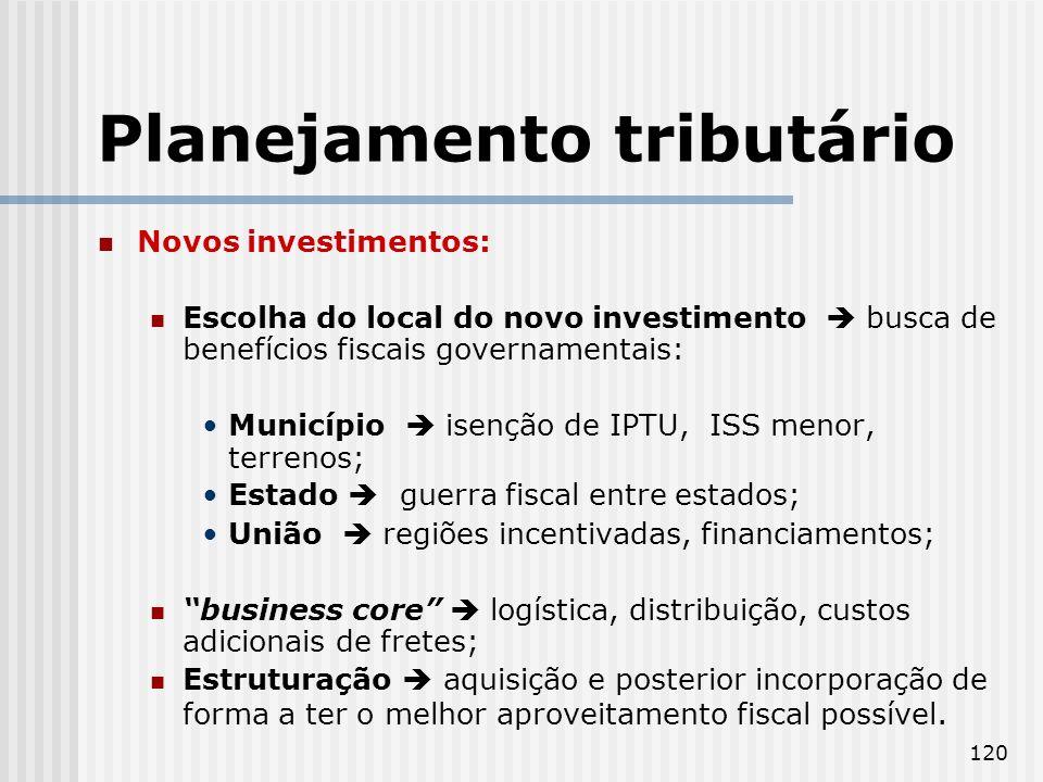 120 Planejamento tributário Novos investimentos: Escolha do local do novo investimento busca de benefícios fiscais governamentais: Município isenção d
