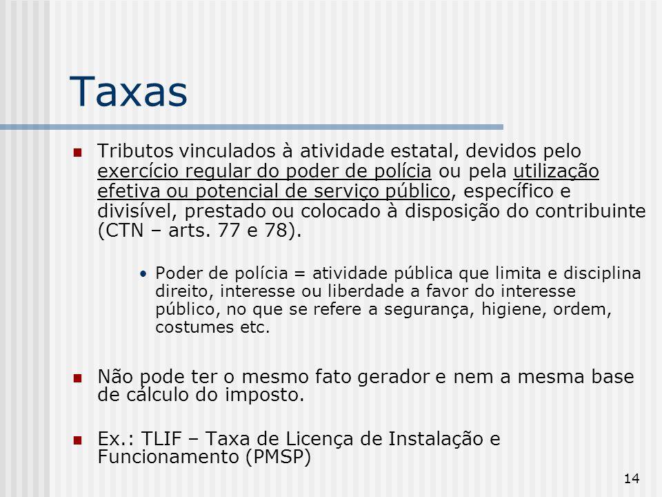 14 Taxas Tributos vinculados à atividade estatal, devidos pelo exercício regular do poder de polícia ou pela utilização efetiva ou potencial de serviço público, específico e divisível, prestado ou colocado à disposição do contribuinte (CTN – arts.