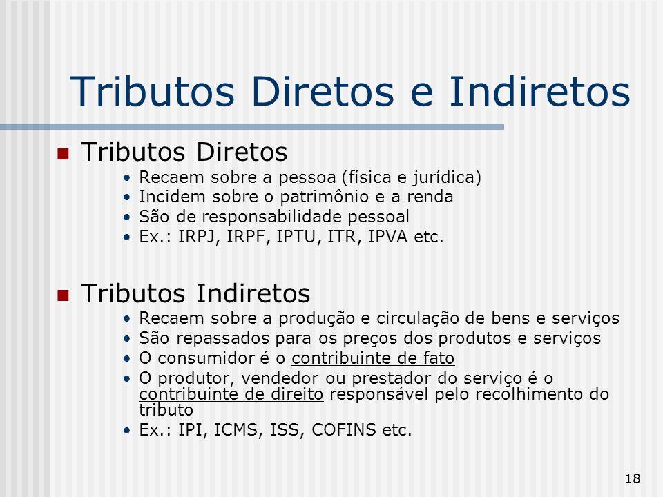 18 Tributos Diretos e Indiretos Tributos Diretos Recaem sobre a pessoa (física e jurídica) Incidem sobre o patrimônio e a renda São de responsabilidade pessoal Ex.: IRPJ, IRPF, IPTU, ITR, IPVA etc.