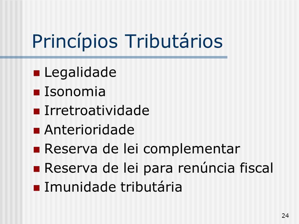 24 Princípios Tributários Legalidade Isonomia Irretroatividade Anterioridade Reserva de lei complementar Reserva de lei para renúncia fiscal Imunidade tributária