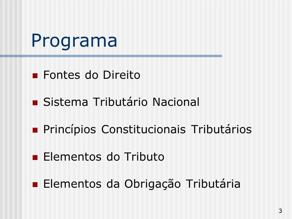 3 Programa Fontes do Direito Sistema Tributário Nacional Princípios Constitucionais Tributários Elementos do Tributo Elementos da Obrigação Tributária