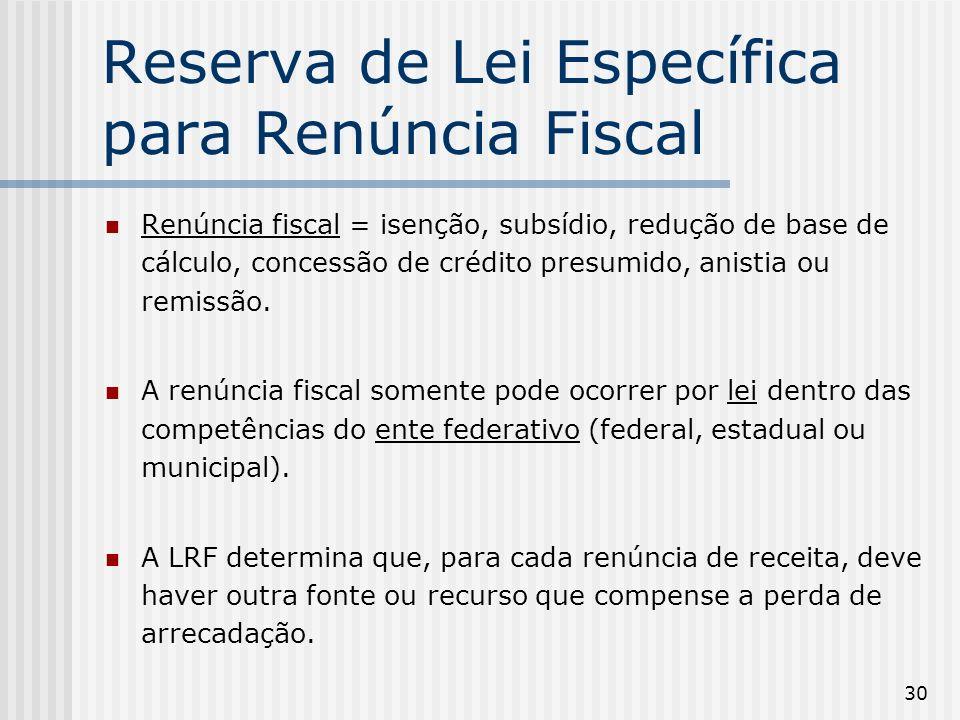 30 Reserva de Lei Específica para Renúncia Fiscal Renúncia fiscal = isenção, subsídio, redução de base de cálculo, concessão de crédito presumido, anistia ou remissão.