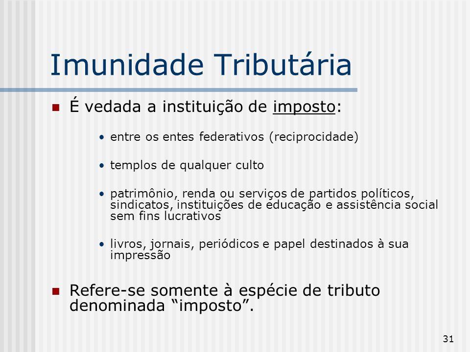 31 Imunidade Tributária É vedada a instituição de imposto: entre os entes federativos (reciprocidade) templos de qualquer culto patrimônio, renda ou s
