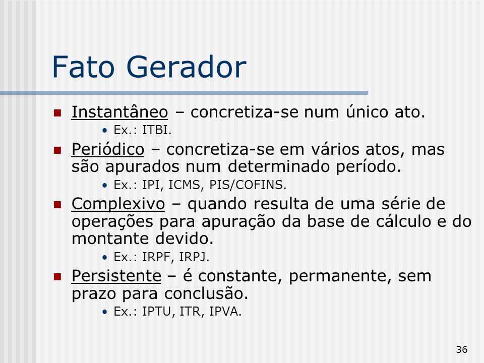 36 Fato Gerador Instantâneo – concretiza-se num único ato. Ex.: ITBI. Periódico – concretiza-se em vários atos, mas são apurados num determinado perío