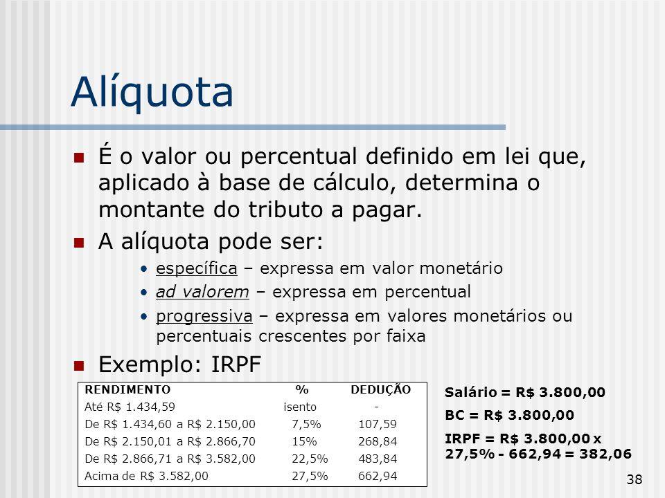 38 Alíquota É o valor ou percentual definido em lei que, aplicado à base de cálculo, determina o montante do tributo a pagar.