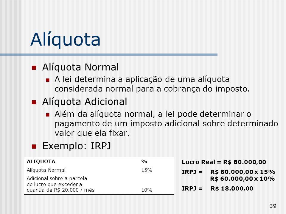 39 Alíquota Alíquota Normal A lei determina a aplicação de uma alíquota considerada normal para a cobrança do imposto. Alíquota Adicional Além da alíq