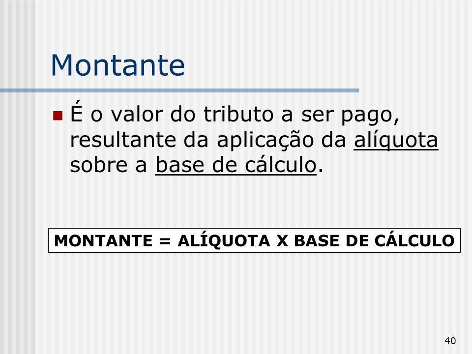 40 Montante É o valor do tributo a ser pago, resultante da aplicação da alíquota sobre a base de cálculo. MONTANTE = ALÍQUOTA X BASE DE CÁLCULO