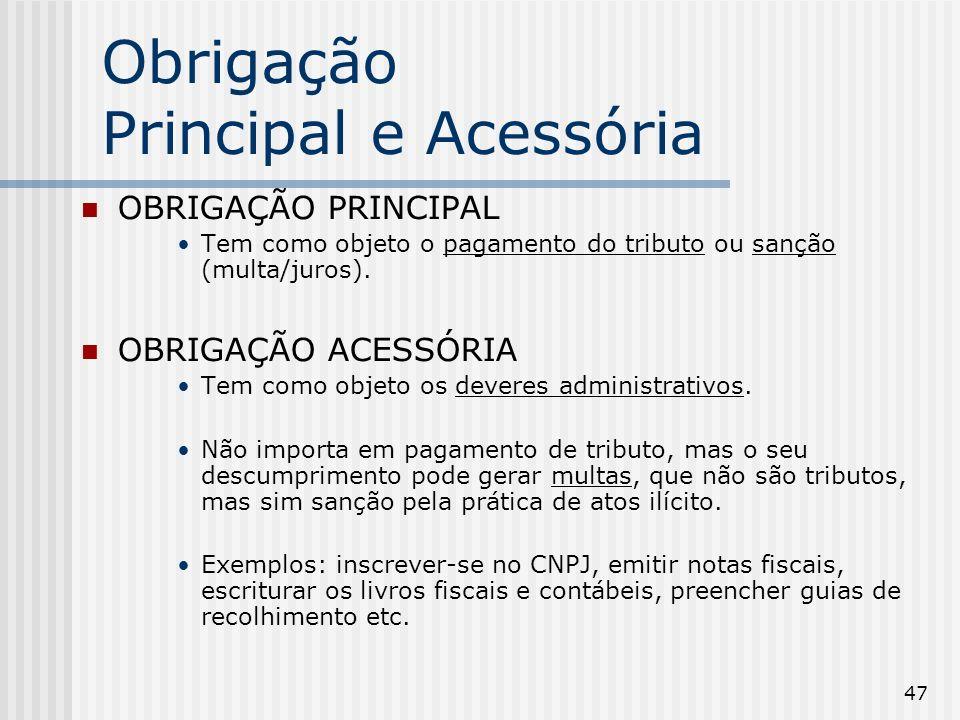 47 Obrigação Principal e Acessória OBRIGAÇÃO PRINCIPAL Tem como objeto o pagamento do tributo ou sanção (multa/juros).