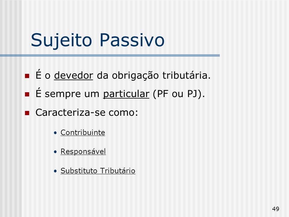 49 Sujeito Passivo É o devedor da obrigação tributária. É sempre um particular (PF ou PJ). Caracteriza-se como: Contribuinte Responsável Substituto Tr