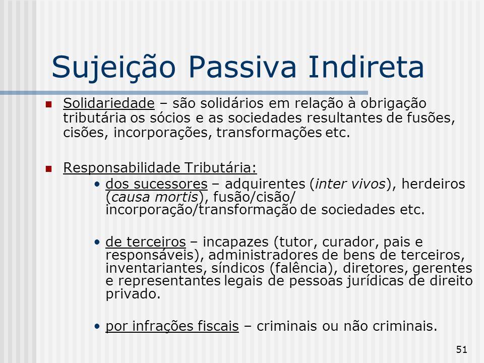 51 Sujeição Passiva Indireta Solidariedade – são solidários em relação à obrigação tributária os sócios e as sociedades resultantes de fusões, cisões, incorporações, transformações etc.