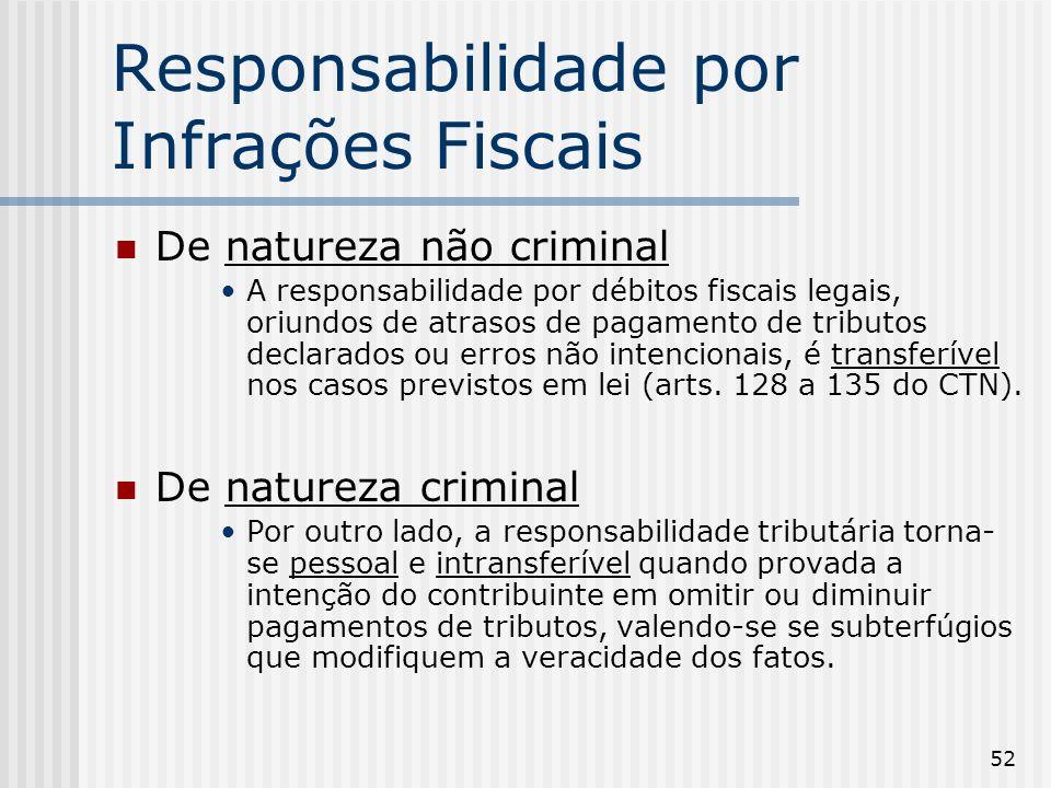 52 Responsabilidade por Infrações Fiscais De natureza não criminal A responsabilidade por débitos fiscais legais, oriundos de atrasos de pagamento de tributos declarados ou erros não intencionais, é transferível nos casos previstos em lei (arts.