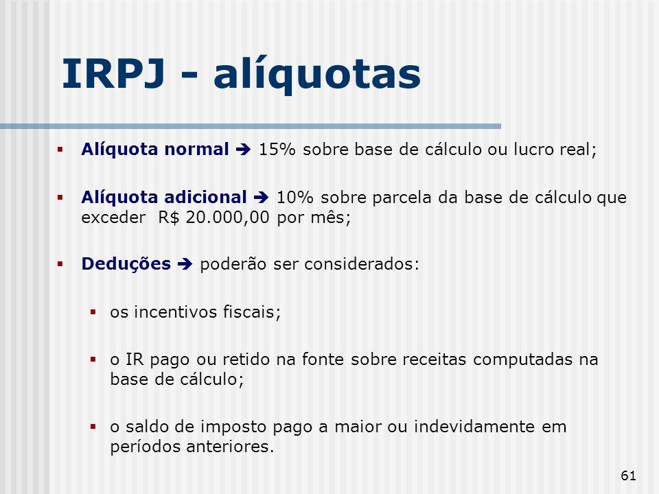 61 IRPJ - alíquotas Alíquota normal 15% sobre base de cálculo ou lucro real; Alíquota adicional 10% sobre parcela da base de cálculo que exceder R$ 20