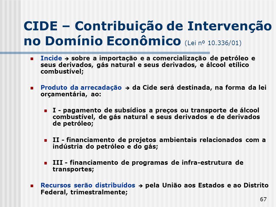 67 CIDE – Contribuição de Intervenção no Domínio Econômico (Lei nº 10.336/01) Incide sobre a importação e a comercialização de petróleo e seus derivad