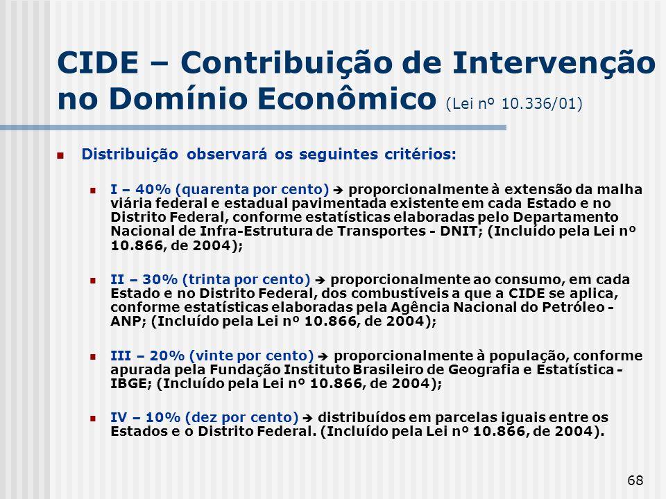 68 CIDE – Contribuição de Intervenção no Domínio Econômico (Lei nº 10.336/01) Distribuição observará os seguintes critérios: I – 40% (quarenta por cen