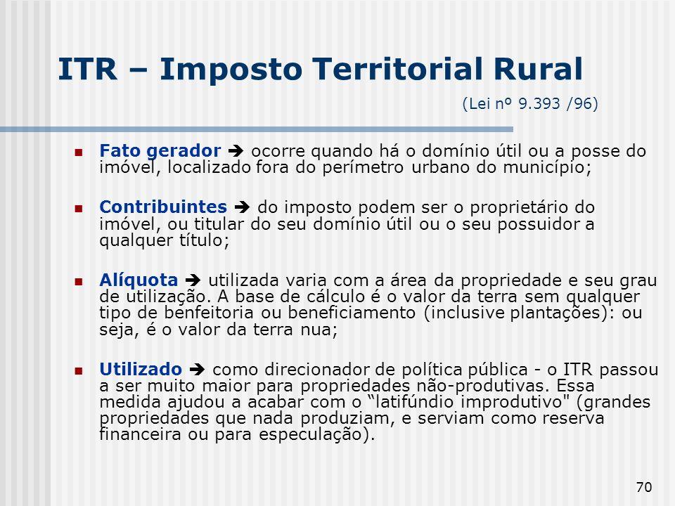 70 ITR – Imposto Territorial Rural (Lei nº 9.393 /96) Fato gerador ocorre quando há o domínio útil ou a posse do imóvel, localizado fora do perímetro