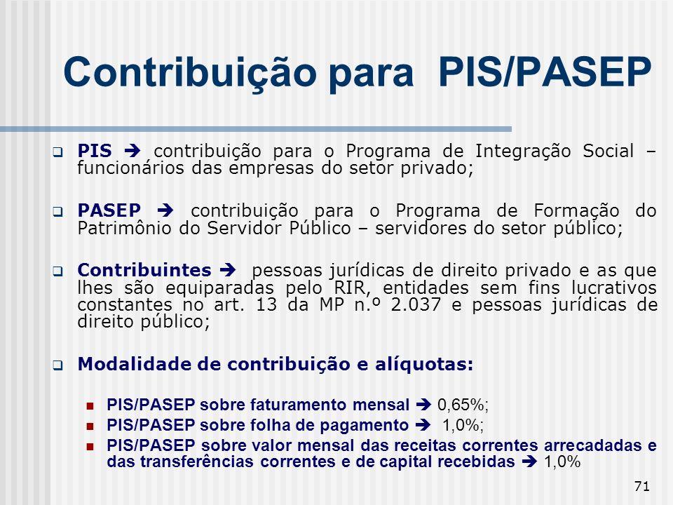 71 Contribuição para PIS/PASEP PIS contribuição para o Programa de Integração Social – funcionários das empresas do setor privado; PASEP contribuição