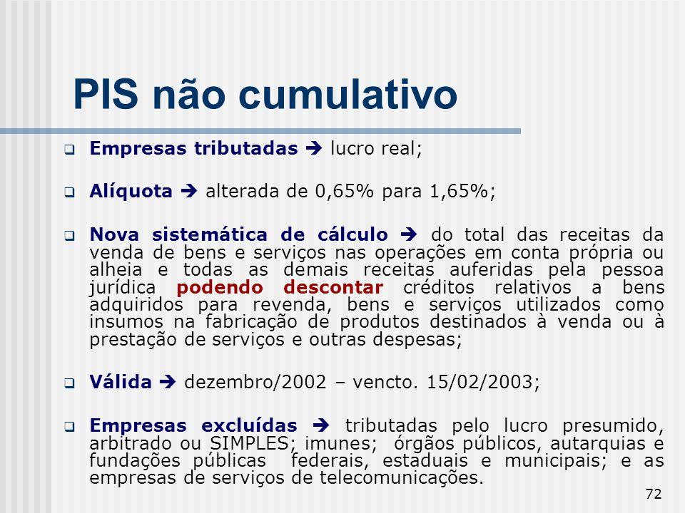 72 PIS não cumulativo Empresas tributadas lucro real; Alíquota alterada de 0,65% para 1,65%; Nova sistemática de cálculo do total das receitas da vend