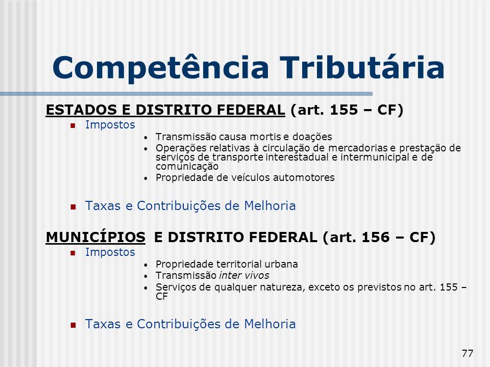 77 Competência Tributária ESTADOS E DISTRITO FEDERAL (art. 155 – CF) Impostos Transmissão causa mortis e doações Operações relativas à circulação de m