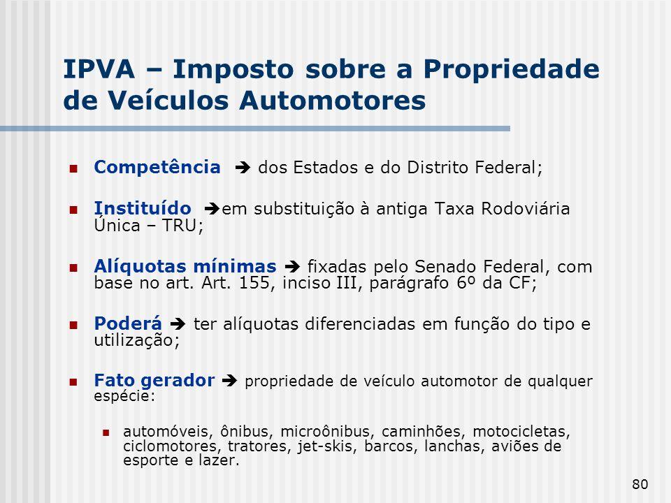 80 IPVA – Imposto sobre a Propriedade de Veículos Automotores Competência dos Estados e do Distrito Federal; Instituído em substituição à antiga Taxa