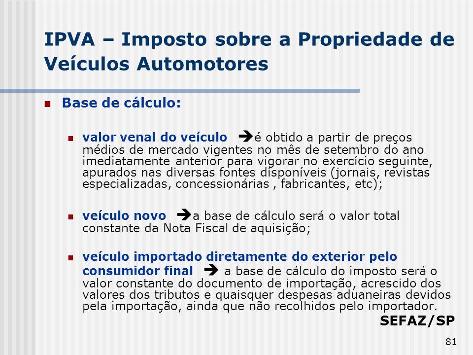 81 IPVA – Imposto sobre a Propriedade de Veículos Automotores Base de cálculo: valor venal do veículo é obtido a partir de preços médios de mercado vi