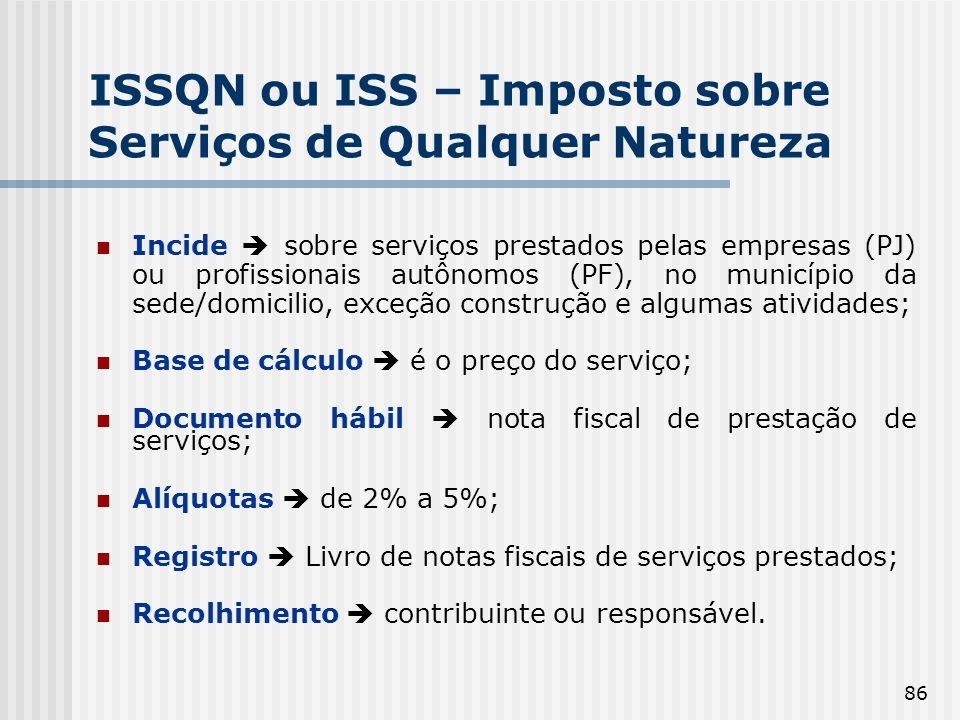 86 ISSQN ou ISS – Imposto sobre Serviços de Qualquer Natureza Incide sobre serviços prestados pelas empresas (PJ) ou profissionais autônomos (PF), no