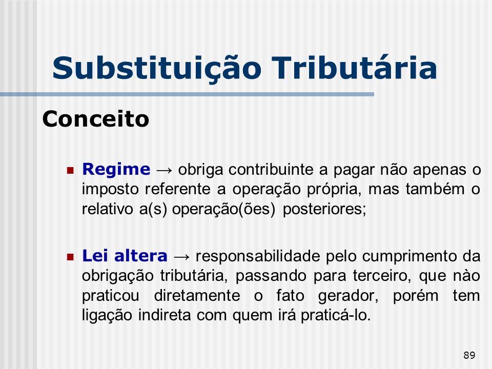 89 Substituição Tributária Conceito Regime obriga contribuinte a pagar não apenas o imposto referente a operação própria, mas também o relativo a(s) o
