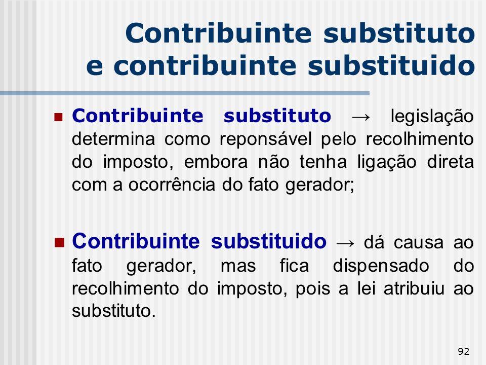 92 Contribuinte substituto e contribuinte substituido Contribuinte substituto legislação determina como reponsável pelo recolhimento do imposto, embor