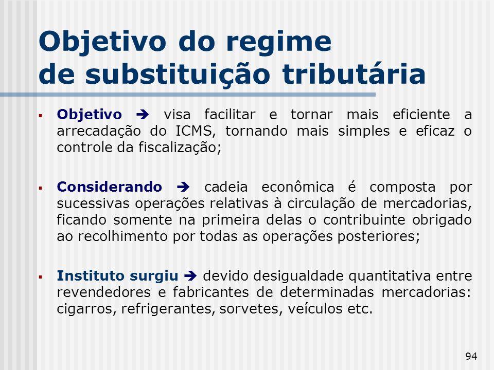 94 Objetivo do regime de substituição tributária Objetivo visa facilitar e tornar mais eficiente a arrecadação do ICMS, tornando mais simples e eficaz