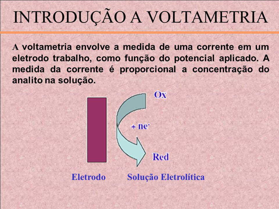 INTRODUÇÃO A VOLTAMETRIA A voltametria envolve a medida de uma corrente em um eletrodo trabalho, como função do potencial aplicado. A medida da corren