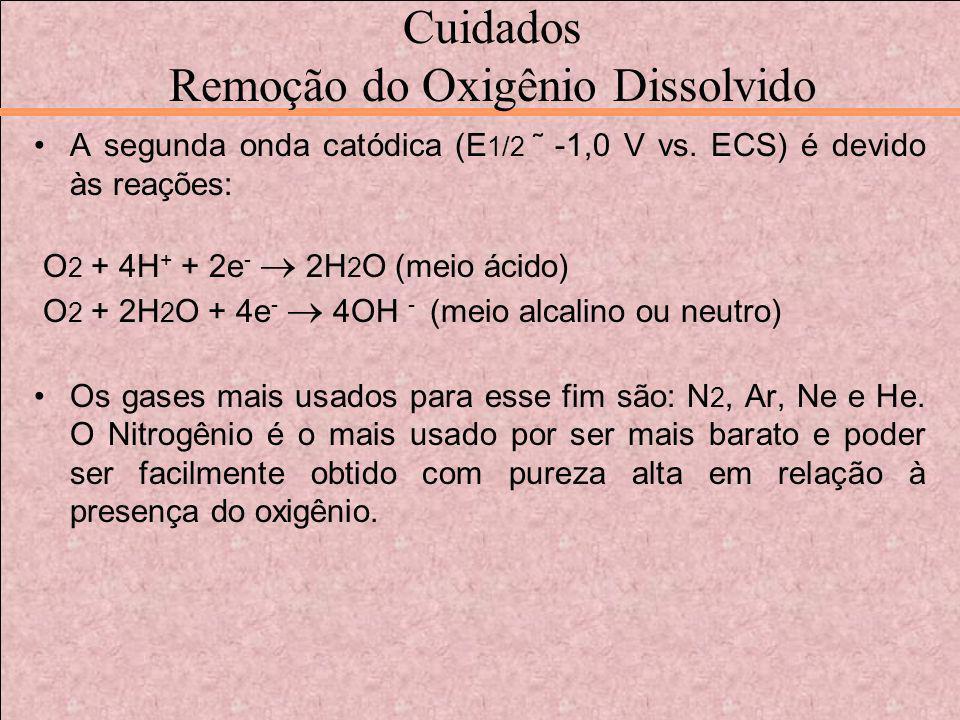 Cuidados Remoção do Oxigênio Dissolvido A segunda onda catódica (E 1/2 ˜ -1,0 V vs. ECS) é devido às reações: O 2 + 4H + + 2e - 2H 2 O (meio ácido) O