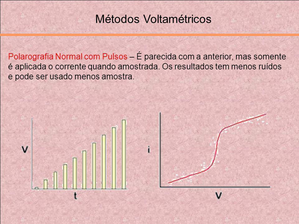 Polarografia Normal com Pulsos – É parecida com a anterior, mas somente é aplicada o corrente quando amostrada. Os resultados tem menos ruídos e pode