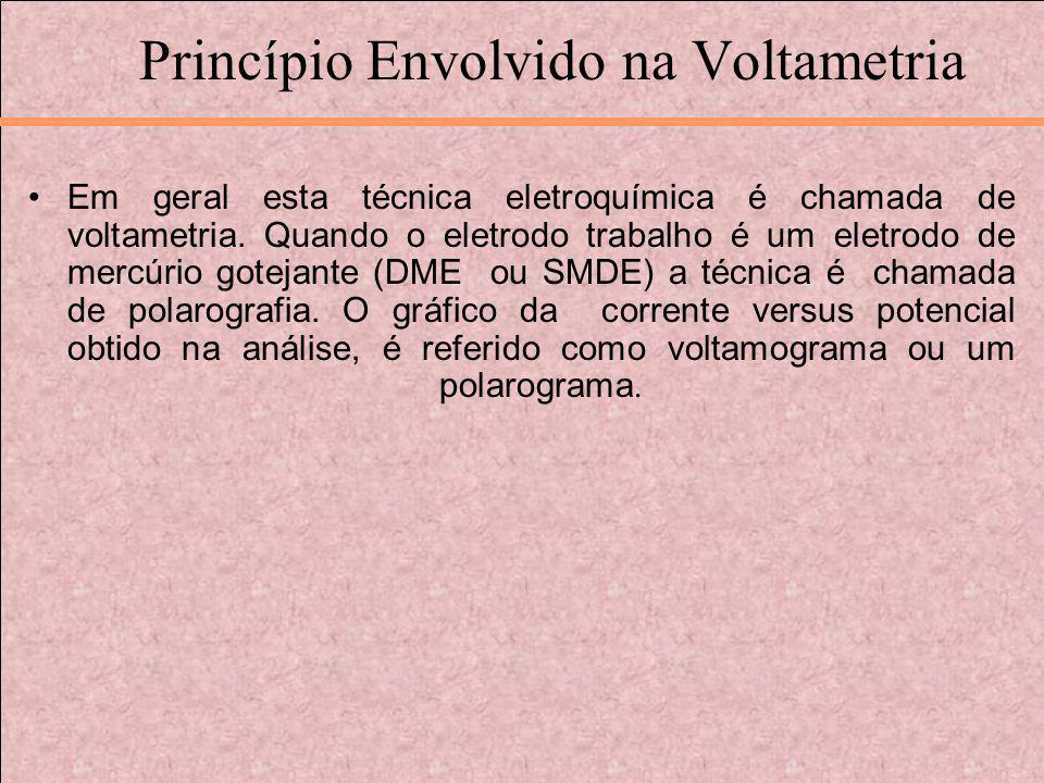 Princípio Envolvido na Voltametria Em geral esta técnica eletroquímica é chamada de voltametria. Quando o eletrodo trabalho é um eletrodo de mercúrio