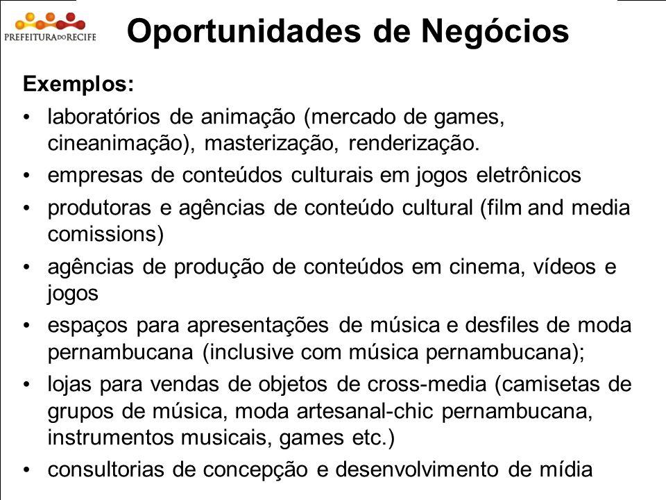 Estudo Prospectivo Inovações Tecnológicas e Cadeias Produtivas Selecionadas 21 Exemplos: laboratórios de animação (mercado de games, cineanimação), ma