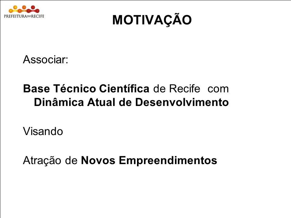 Estudo Prospectivo Inovações Tecnológicas e Cadeias Produtivas Selecionadas 4 MOTIVAÇÃO Associar: Base Técnico Científica de Recife com Dinâmica Atual