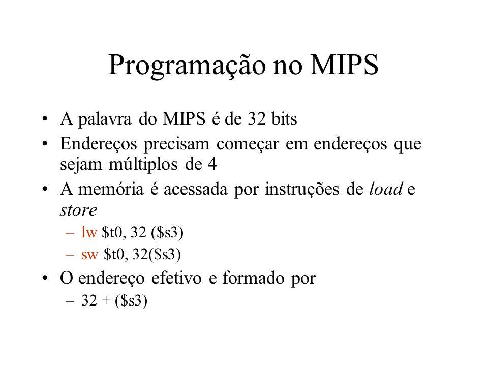 Programação no MIPS A palavra do MIPS é de 32 bits Endereços precisam começar em endereços que sejam múltiplos de 4 A memória é acessada por instruçõe
