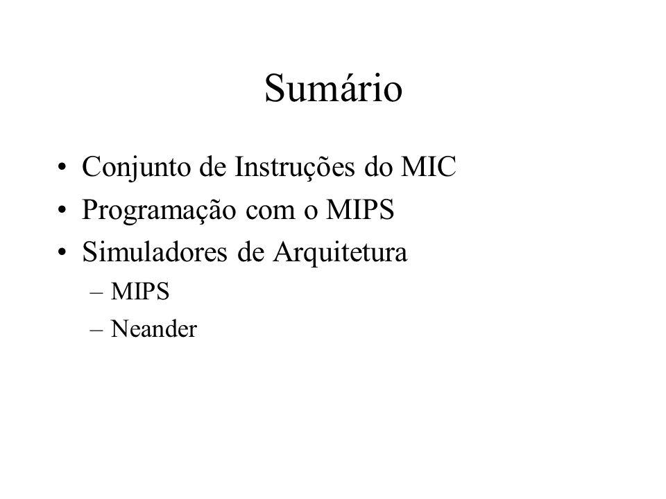 Sumário Conjunto de Instruções do MIC Programação com o MIPS Simuladores de Arquitetura –MIPS –Neander