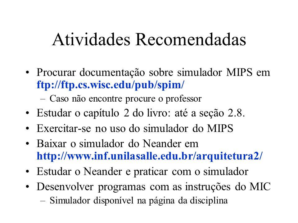 Atividades Recomendadas Procurar documentação sobre simulador MIPS em ftp://ftp.cs.wisc.edu/pub/spim/ –Caso não encontre procure o professor Estudar o