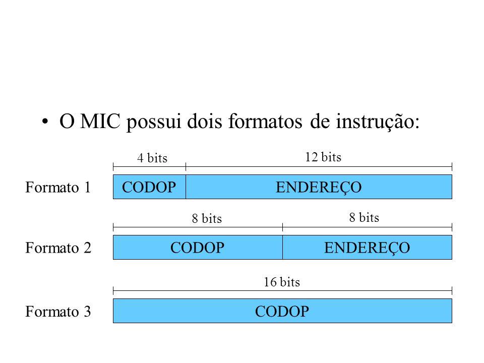 O MIC possui dois formatos de instrução: ENDEREÇOCODOP 4 bits 12 bits ENDEREÇOCODOP 8 bits CODOP 16 bits Formato 1 Formato 2 Formato 3
