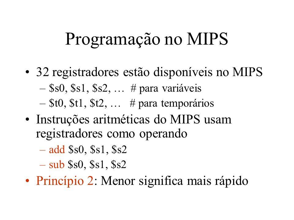 Programação no MIPS A palavra do MIPS é de 32 bits Endereços precisam começar em endereços que sejam múltiplos de 4 A memória é acessada por instruções de load e store –lw $t0, 32 ($s3) –sw $t0, 32($s3) O endereço efetivo e formado por –32 + ($s3)