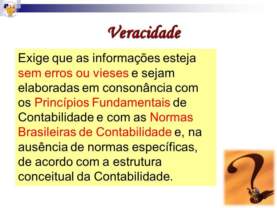 Veracidade Exige que as informações esteja sem erros ou vieses e sejam elaboradas em consonância com os Princípios Fundamentais de Contabilidade e com