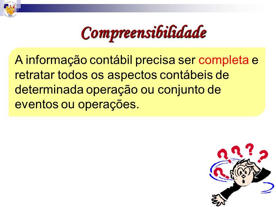 Compreensibilidade A informação contábil precisa ser completa e retratar todos os aspectos contábeis de determinada operação ou conjunto de eventos ou