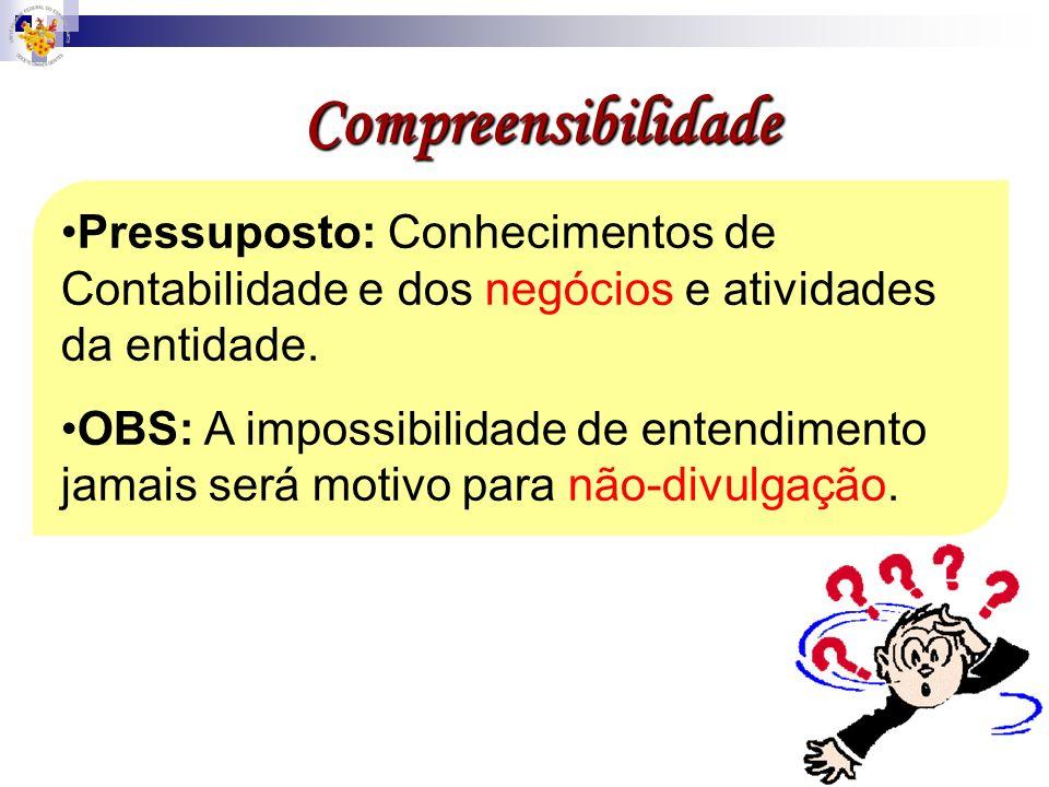 Compreensibilidade Pressuposto: Conhecimentos de Contabilidade e dos negócios e atividades da entidade. OBS: A impossibilidade de entendimento jamais