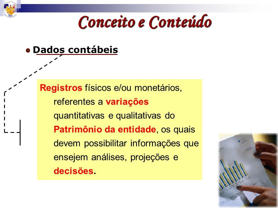 Registros físicos e/ou monetários, referentes a variações quantitativas e qualitativas do Patrimônio da entidade, os quais devem possibilitar informaç