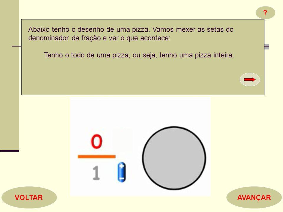 ? AVANÇARVOLTAR Abaixo tenho o desenho de uma pizza. Vamos mexer as setas do denominador da fração e ver o que acontece: Tenho o todo de uma pizza, ou