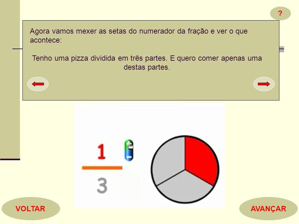 ? AVANÇARVOLTAR Agora vamos mexer as setas do numerador da fração e ver o que acontece: Tenho uma pizza dividida em três partes. E quero comer apenas