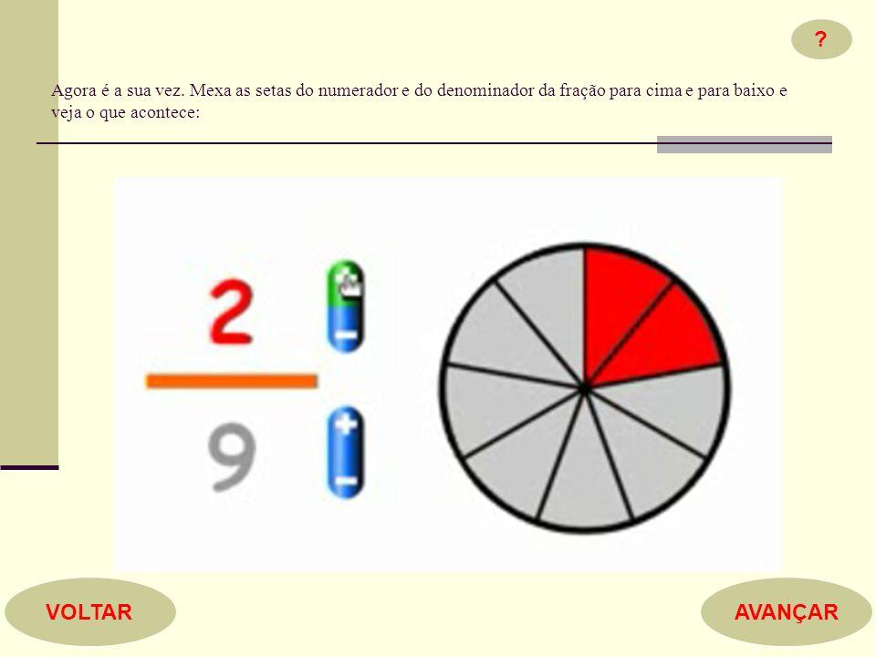 Agora é a sua vez. Mexa as setas do numerador e do denominador da fração para cima e para baixo e veja o que acontece: ? AVANÇARVOLTAR