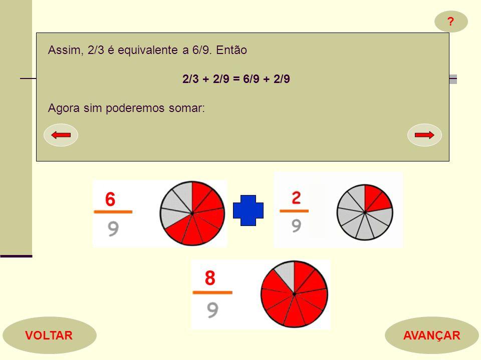 ? AVANÇARVOLTAR Assim, 2/3 é equivalente a 6/9. Então 2/3 + 2/9 = 6/9 + 2/9 Agora sim poderemos somar: