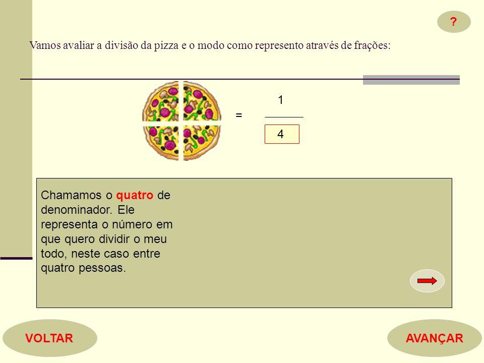 Vamos avaliar a divisão da pizza e o modo como represento através de frações: 1 4 = .