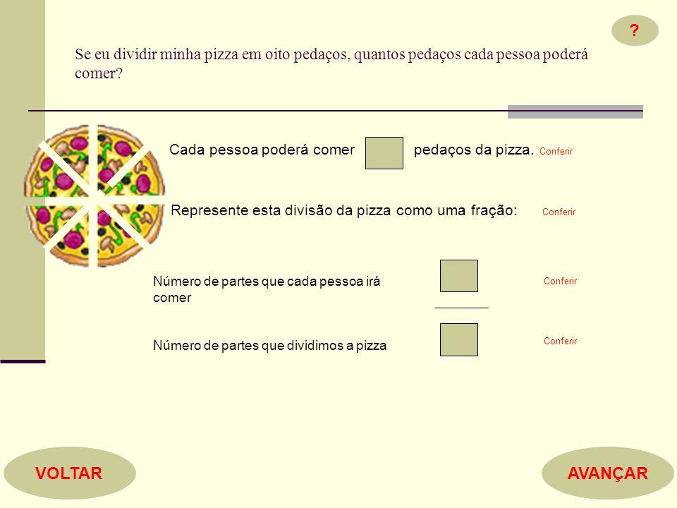 Se eu dividir minha pizza em oito pedaços, quantos pedaços cada pessoa poderá comer? Cada pessoa poderá comer pedaços da pizza. Conferir Represente es