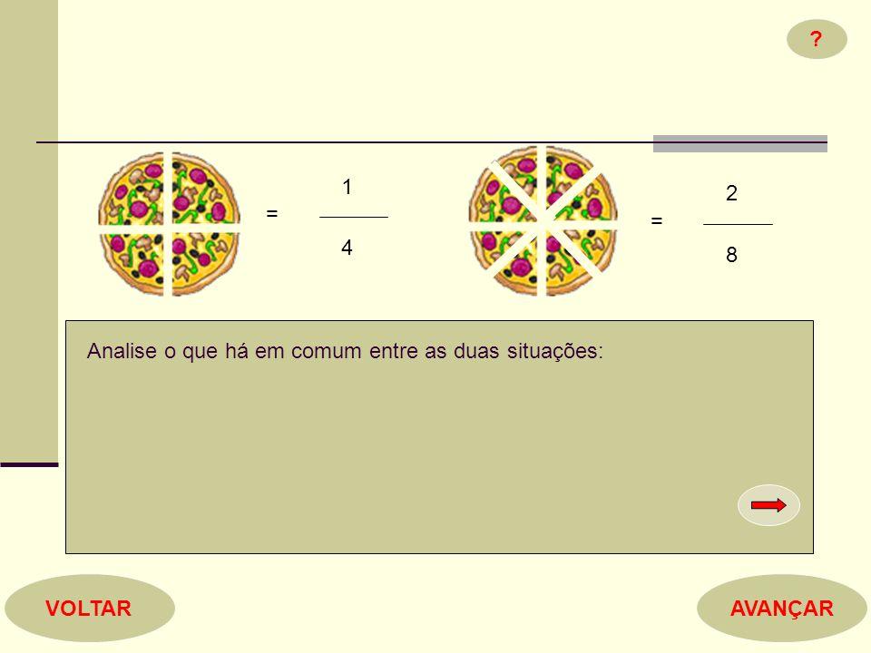 1 4 = 2 8 = ? Analise o que há em comum entre as duas situações: AVANÇARVOLTAR